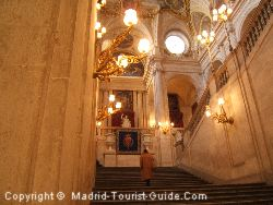 The sweeping staircase as you enter the Palace