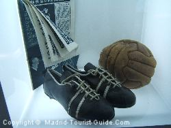 Autographed football boots in the Real Madrid Stadium