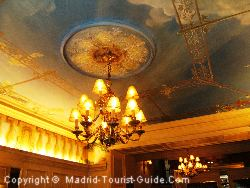 The Pretty Painted Ceiling In The Reception Of The Hotel Carlos V Madrid