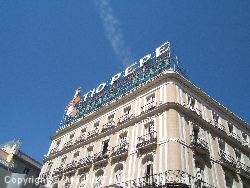 The famous building on the edge of the Puerta Del Sol near the Hotel Ingles Madrid.