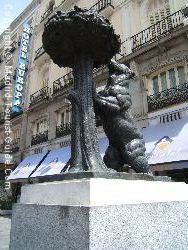 The Official Symbol Of Madrid In Puerta Del Sol Square: The Bear And The Madroño Tree